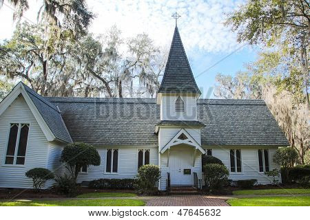 Old White Church In Southern Park