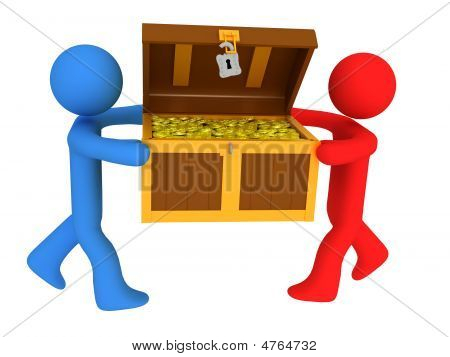 Persons With Treasure Chest