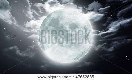 Large Halloween Moon Dark Sky