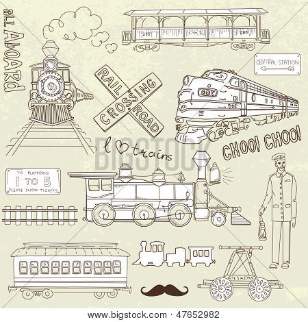 Collection of vintage trains and railroad doodles