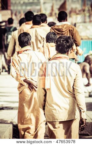 Indian Men In Varanasi, Uttar Pradesh, India.