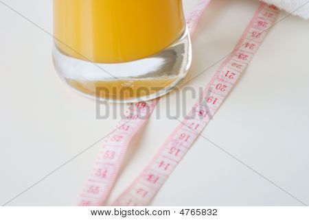 Juice In A High Glass On A Table