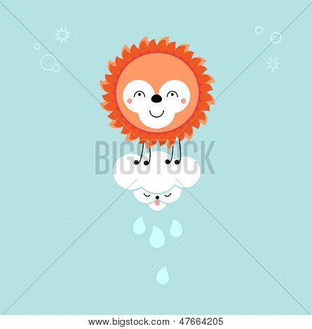 Sun And Cloud In The Sky. Cute Kawaii Animalistic Cartoon Characters. Eps 10 Vector