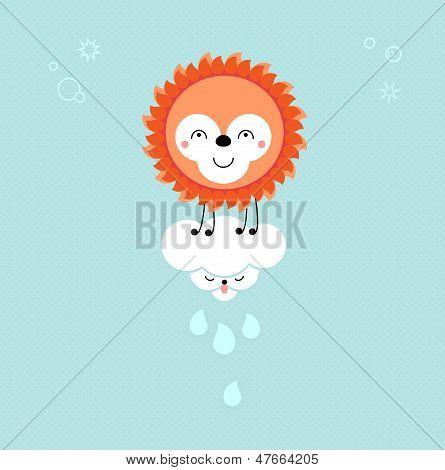 Sun And Cloud In The Sky. Cute Kawaii Animalistic Cartoon Characters. Eps 10 Vector