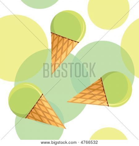 Seamless Pattern With Pistachio Ice-cream