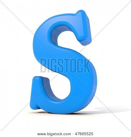 3D alphabet, letter S isolated on white background