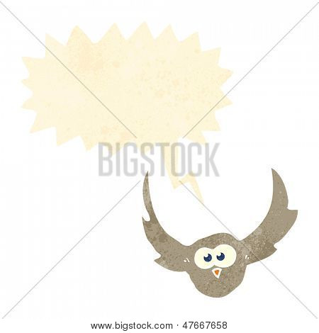 hooting owl retro cartoon