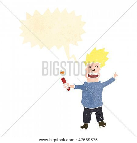 cartoon man shouting with stick of dynamite