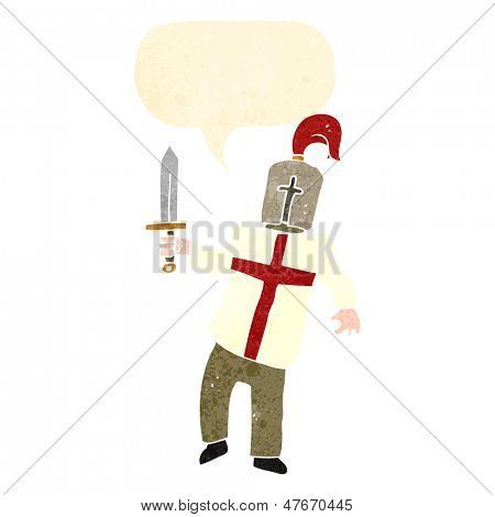 retro cartoon knight with english cross