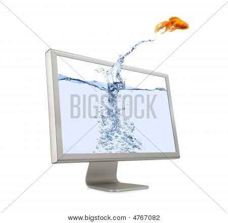 Goldfish Jumping Out Of Screen