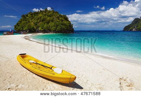 Kayak on the tropical beach, Andaman sea, Thailand