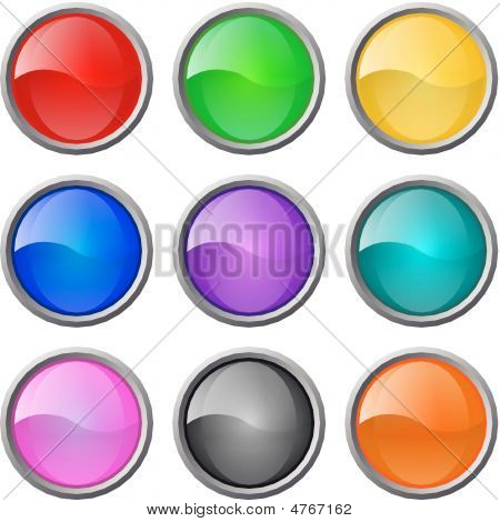 Set Of Vector Glossy Web Blank Buttons