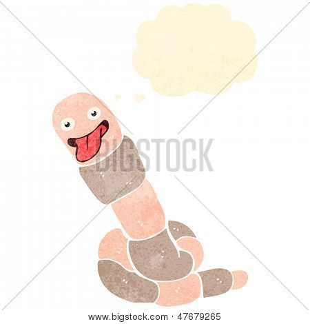 retro cartoon happy earthworm