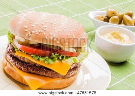 Cheeseburger on a plate VI