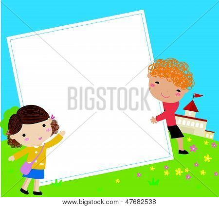 two kids and frame