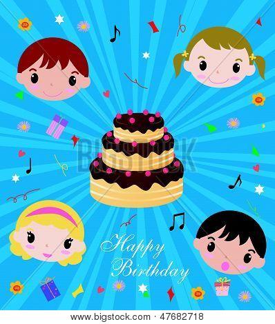 kids and birthday cake