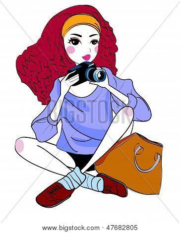 woman and digital camera