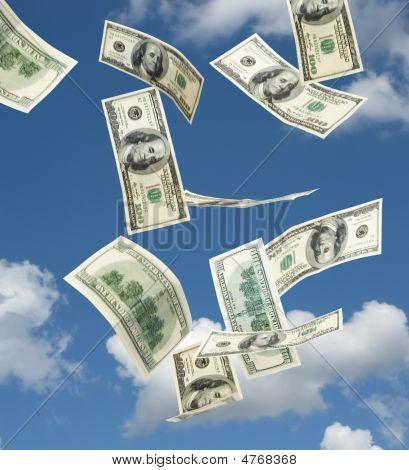 Hundred Dollar Banknotes Falling