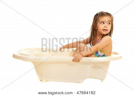 Girl In Washtub Looking Away