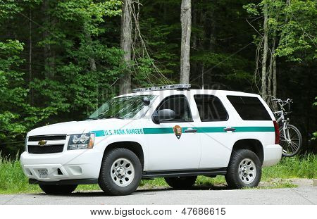 US Park ranger car in Arcadia National Park in Bar Harbor, Maine