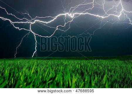 Lightning above the field