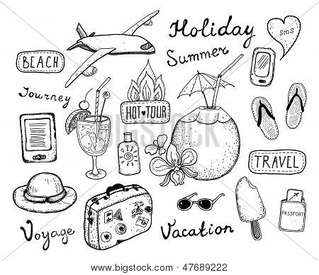 Travel Doodle Elements Set
