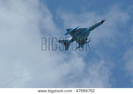 MIG 21 LANCER fighter plane performs a demonstration flight