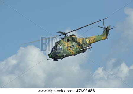 Puma helicopter in flight