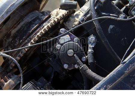 Old Disassembled Boat Outboard Motor