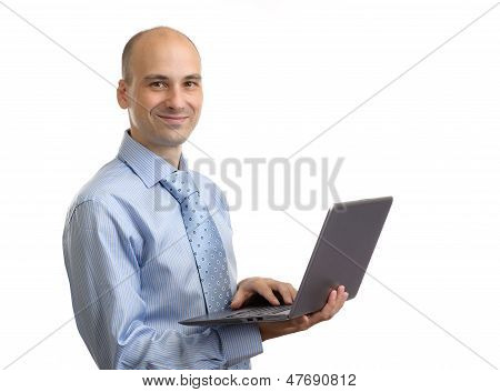 Young Business Man Using Laptop Isolated Over White Background