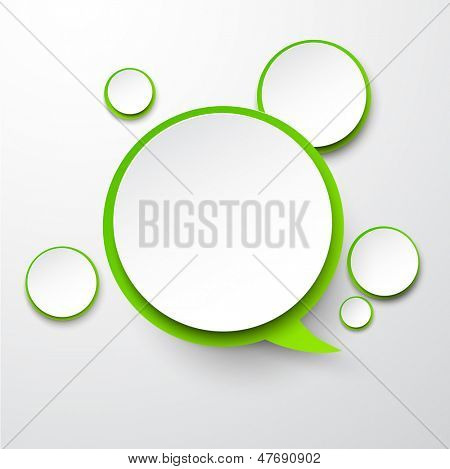 Vector illustration of white and green paper round speech bubble. Eps10.