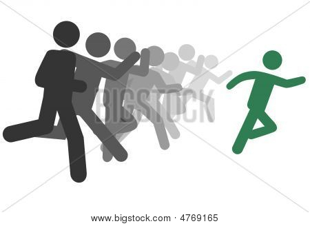 Symbol Man And People Run A Race Or Leader Leads