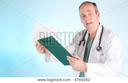 Perplexed Doctor Reading Out Disappointing Medical Test Result