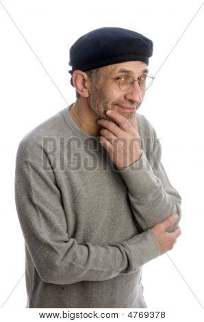 Aging Artist Thinking With Beret Hat