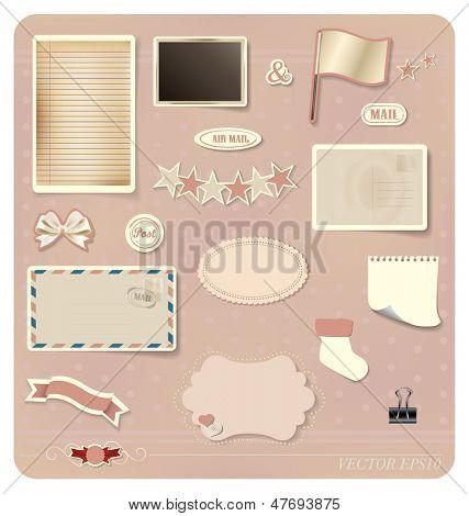 Vector set: Vintage postcard designs, blank grunge paper, postcard and envelope.