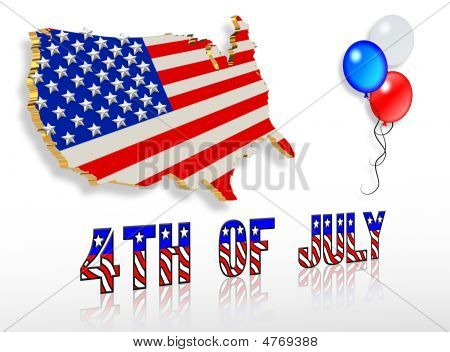 July 4Th 3D Patriotic Clip Art Designs