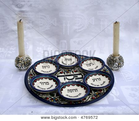 Passover  Plates  And Candles