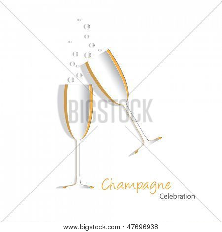 Paper cutouts of champagne glasses with bubbles. EPS10 vector format with blends, transparencies and simple gradients.