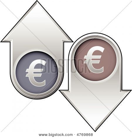 Euro Currency Icon On Up And Down Arrow Buttons
