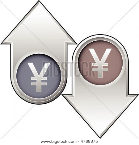 Japanese Yen Currency Icon On Up And Down Arrow Buttons