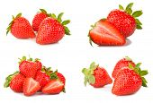 pic of strawberry  - Strawberries set isolated on a white background - JPG