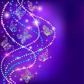 picture of ethereal  - illustration of a blue background butterflies and stars with precious stones - JPG
