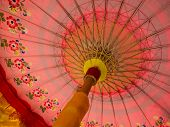 picture of minangkabau  - Traditional Minangkabau and Bali Pink Umbrella Use in Wedding and Religious Ceremony