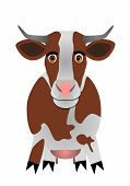 picture of moo-cow  - Illustrated brown and white cow in high resolution - JPG