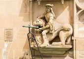 stock photo of samson  - Statue from fountain at Schwabisch Hall Germany - JPG