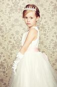 pic of little girls photo-models  - Portrait of little girl in luxurious dress - JPG