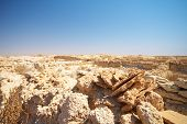 image of qatar  - Ruins of the original trading post just a few hundred meters from Fort Al Zubarah in the northern Qatar desert Middle East - JPG
