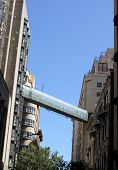 picture of skyway bridge  - Bridge between buildings in cape town with blue sky - JPG