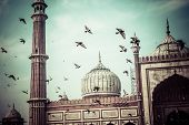foto of masjid  - Famous Jama Masjid Mosque in old Delhi India - JPG