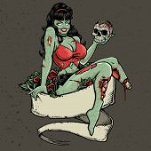 picture of bloody  - Zombie Pinup Girl Holding Skull - JPG